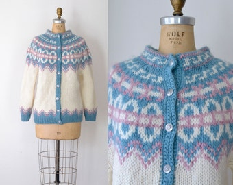 Vintae Icelandic Wool Cardigan / Nordic Chunky Knit Fair Isle Sweater