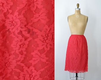 1960s Red Lace Half Slip / Vanity Fair Slip