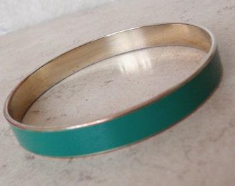 Green Enamel Bangle Bracelet Gold Tone Vintage 031815JS