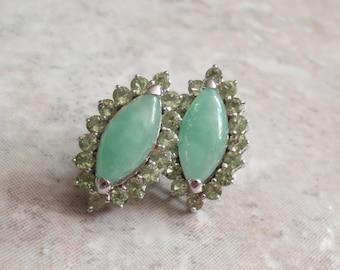 Jadeite Peridot Earrings Marquise Shape Sterling Silver Pierced Vintage AT0240