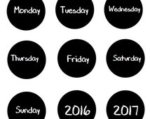 "Days of the Week Magnets Chalkboard Design Each 1.5"" (7 Magnets)"