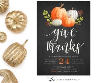 Thanksgiving Dinner Invitation, Thanksgiving Invitation, Thanksgiving Feast invite, Give Thanks Invitation, Thanksgiving Printable 5x7