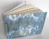 Mixed Paper Journal Sketchbook, Hand Dyed Fabric Covers in Blue Grey, A5