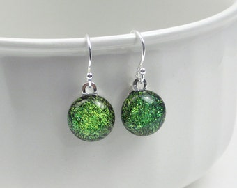 Leaf green drop earrings, fused glass earrings with sterling silver earwires