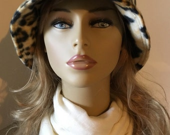 Womens Fleece Winter Fall Cloche, Bucket Hat--Black, Gold, Cream, Leopard Print