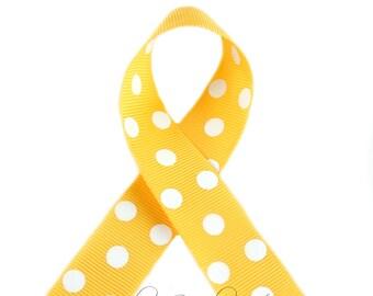 Yellow Gold Polka Dots 3/8 inch Polka Dot Grosgrain Ribbon - Polka Dot Ribbon, Polka Dot Hair Bow, Polka Dot Bow, Ribbon By The Yard