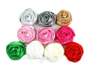 Mini Sophia Multilayer Rolled Satin Flower 1.25 inch, Fabric Flowers, Silk Flowers, Hair Flowers, Wedding Flowers, Flowers for Headbands