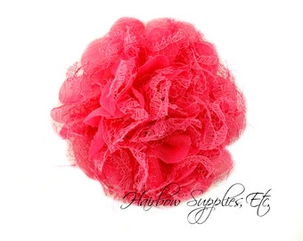 Fuchsia Petite Lace Chiffon Flowers 3.5 inch-Fuchsia Shabby Flower, Hot Pink Fabric Flower, Fuchsia Chiffon Flower, Fuchsia Flowers for hair