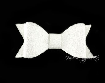 White Double Layer Glitter Bow 2.5 inch - White Glitter Hair Bow, White Glitter Hair Clip, White Glitter Bows, White Glitter Bow