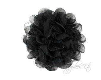 Black Petite Lace Chiffon Flowers 3.5 inch - Black Shabby Flowers, Black Fabric Flower, Black Chiffon Flower, Black Flowers for hair