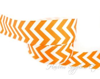 Orange Chevron Ribbon 7/8 inch NEW Grosgrain Ribbon - Hairbow Supplies, Etc.
