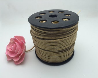 100Yard 3mm Shiny Camel Flat Faux Suede Leather Cord, 3mm DIY Cord Supplies, Faux Suede Lace