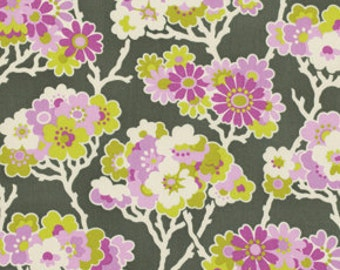 Heather Bailey - Lottie Da - Sprig in Charcoal gray purple lilac cream green floral - cotton quilting fabric  - choose your cut