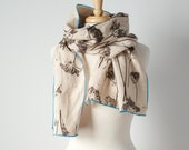 hand printed linen scarf in cream and gray with Queen Anne's lace with blue edging