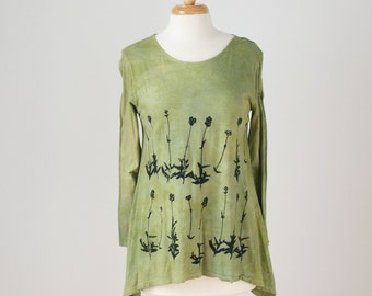 2x extra large pear cotton knit a-line tunic hand dyed and printed with lavender flowers
