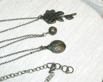 Bronze Triple Necklace Rose Ladybug Filigree Boho Hippie Chic Free Spirit Indie Hipster Bohemian