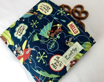 Reusable Snack Bag - Reusable Baggie - Animal Snack Bag - Fabric Snack Bag - Reusable Fabric Snack Bag - Little Flyers in Blue