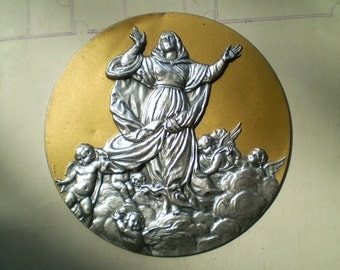 Virgin Mary and Angels - Vintage Large Round Metal Stamping or Plaque - The Assumption - Made in Italy