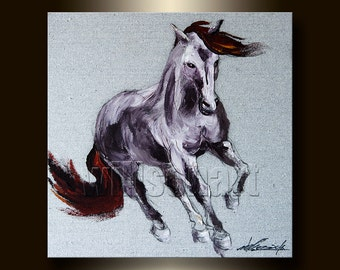 Horse Painting Textured Palette Knife Contemporary Modern Original Animal Art 16X16 by Willson Lau