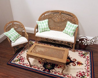 Conservatory settee, chair and coffee table with upholstered cushions and decorative pillows - dollhouse miniature