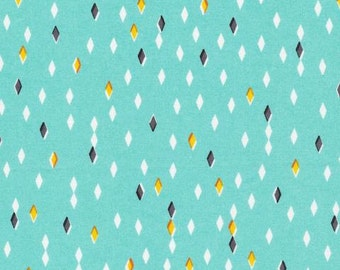 ORGANIC Gem Turquoise Cotton Fabric, Quilting Weight,Glint Collection from Cloud9