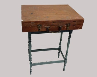 Artist's Box Wooden Desk Table Assemblage