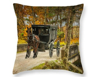 Amish Horse and Buggy crossing a Bridge in Autumn No.02832 Country Rural Landscape novelty throw pillow Home Décor cushion cover