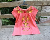 M-L Bohemian Embroidered Top - Peachy Pink