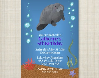 Manatee, Ocean Birthday Invitation - You Print