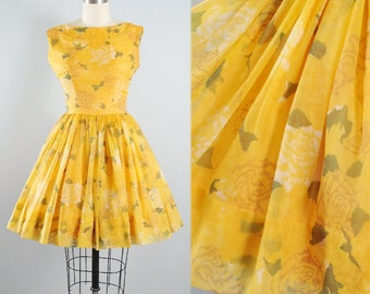 Vintage 50s Jerry Gilden Dress / 1950s CHIFFON ROSE Print Sundress Yellow Green Floral Stem Full Swing Skirt Garden Cocktail Party S Small