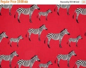ON SALE Zebras on Red Print Pure Cotton Fabric from Timeless Treasures--One Yard