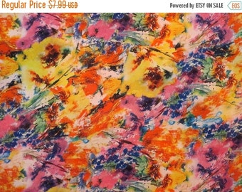 ON SALE SPECIAL--Bright Yellow and Pink Abstract Floral Print Polyester Charmeuse Fabric--One Yard