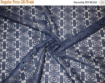 ON SALE REMNANT--Navy Blue Allover Geometric Pattern Polyester Lace Fabric--3/4 Yard
