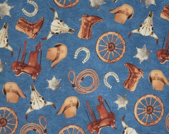 Western Cattle Drive Tossed Print on Blue Pure Cotton Fabric--By the Yard
