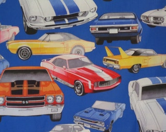 Colorful Muscle Car Print on Royal Blue Pure Cotton Fabric--By the Yard