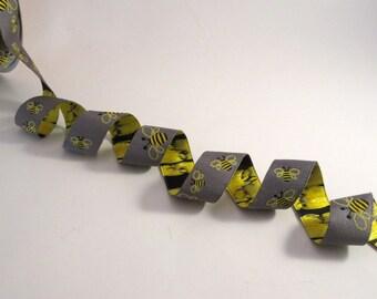 Adorable Yellow on Gray Bee Design Poylester Jacquard Ribbon--One Yard