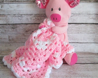Lily the Piggy Security Blanket, Pig Lovey Blanket, Repurposed Stuffed Animal Lovey Blanket