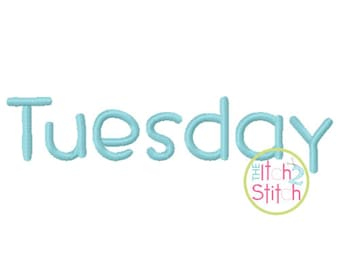 """Tuesday Machine Embroidery Font 0.6"""", 1.0"""", 1.5"""" & 2.0"""" sizes (upper and lower A-Z, numbers) INSTANT DOWNLOAD now available"""