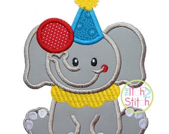 """Sitting Circus Elephant Applique, Shown with our """"db Tuesday"""" Font NOT Included, Sizes 4x4, 5x7, & 6x10 INSTANT DOWNLOAD available"""