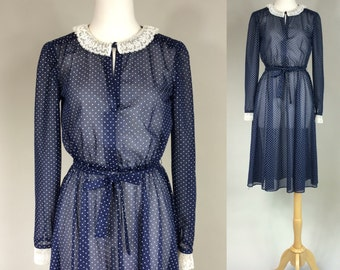 50s Polka Dot Day Dress / Vintage 1950s Sheer Day Dress / 1950s Vintage Sexy Sheer Polka Dot Wiggle Dress / Vintage Polka Dot Dress
