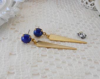 Art Deco Earrings, Blue Dangle Earrings, Dagger Earrings, Old Hollywood, Vintage GLASS Lapis Earrings, Estate Jewelry, Retro Glam