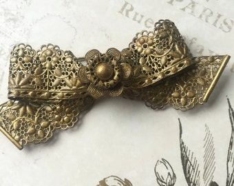 Vintage Ornate Filigree Brass Bow Brooch 1930s, Estate Jewelry, Bow Pin