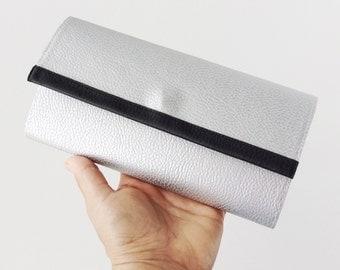 Silver leather wallet minimalist vegan, silver clutch evening bag, minimalist wallet women, metallic wallet for her birthday gift for wife