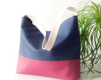 Navy Blue Hobo Bag - Vegan Leather shoulder bag - Slouchy hobo bag - blue Bag - Two tone Bag - Vegan leather bag - Gift for Mom