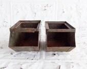 2 Vintage Metal Factory Bins . Tiny Green Metal Industrial Factory Parts Bin . Stack Bin Parts Organizer .