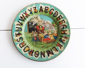 Early Tin Lithographed  Tindeco PETER RABBIT ABC Plate, Vintage Tin, Antique Tin