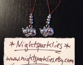 Stitch markers with silver metal cat charms and silver metal heart beads