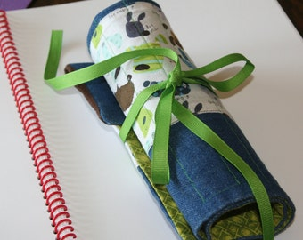 Deluxe Pencil or Crochet Hook Roll/Case - Dogs in Blues and Browns, Denim, and Bright Green