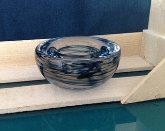 Blue swirl glass tea light holder