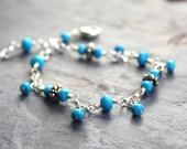 Turquoise Bracelet Sterling Beaded Gemstone Bracelet Blue Gems Bali Beads December Birthstone